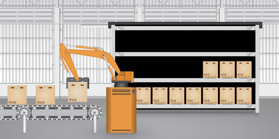 Roboter setzt Pakete von Regal auf ein Förderband