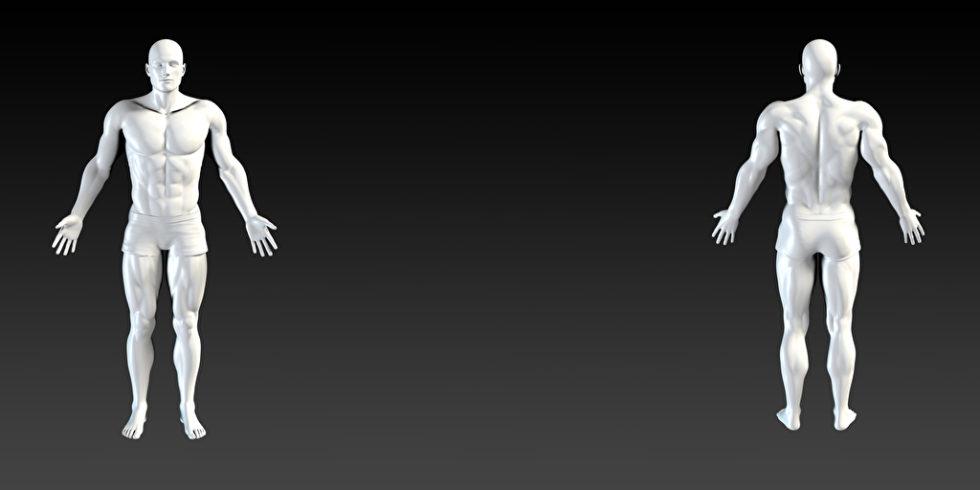 Zwei weiße Koerpersilhouetten auf schwarzem Hintergrund