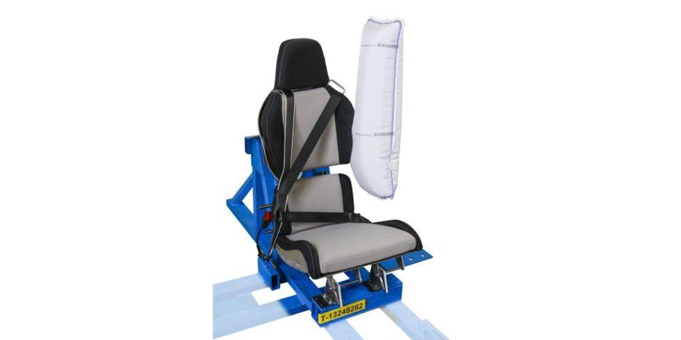 Sitzkonstruktion des Visio.M mit Seitenairbag, Drei-und-Zwei-Punkt-Gurtsystem und Innenverschiebung des Sitzes. Foto: Autoliv