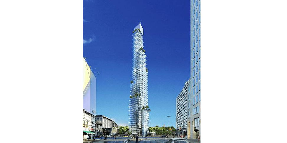 Hardenberg soll 209 Meter in den Himmel ragen. Auf der Spitze stellt sich Architekt Langhof eine Skybar vor, die für die Öffentlichkeit zugänglich ist.
