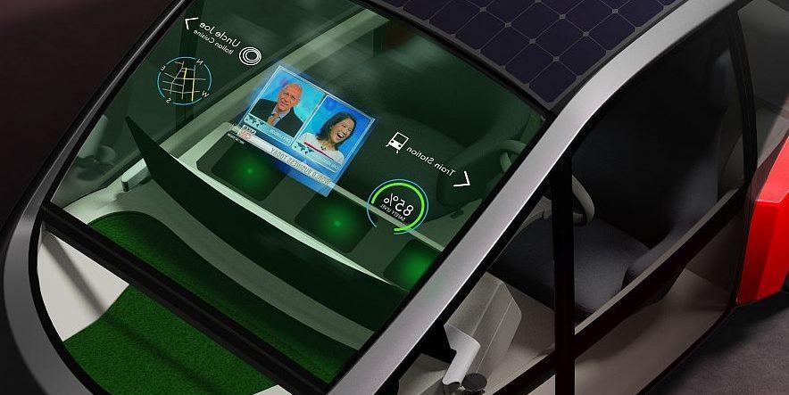 Selbstfahrendes Wohnzimmer mit Elektromotor und Rasen im Cockpit