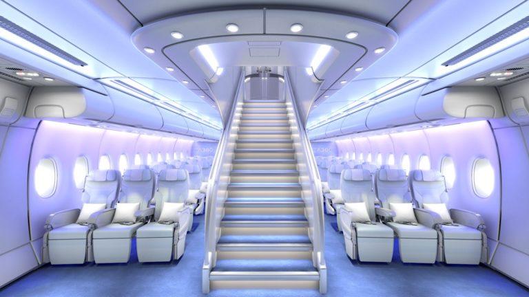 Der Passagierraum der A380 hat zwei Etagen. Die Airbus-Maschine ist das größte Flugzeug der Welt. Foto: Airbus