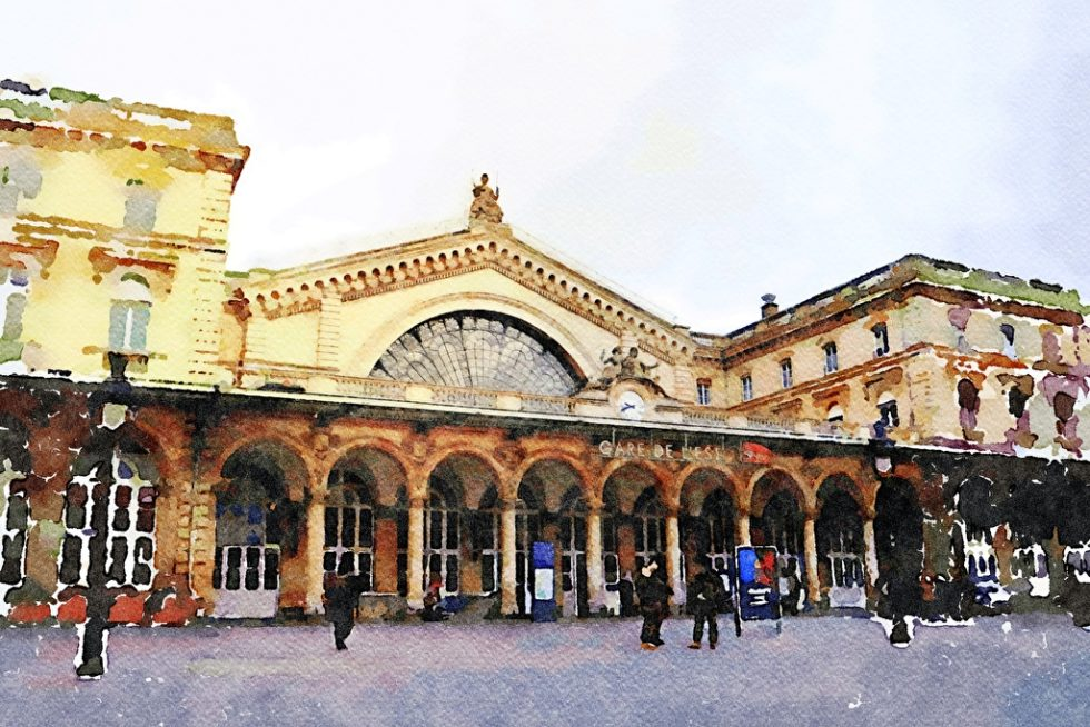 Watercolor of the Gare de l Est station in Paris on a fall day