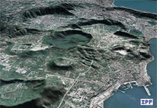 Ein Blick auf die Phlegräischen Felder bei Neapel. Direkt neben der italienischen Millionenstadt liegt ein Supervulkan.