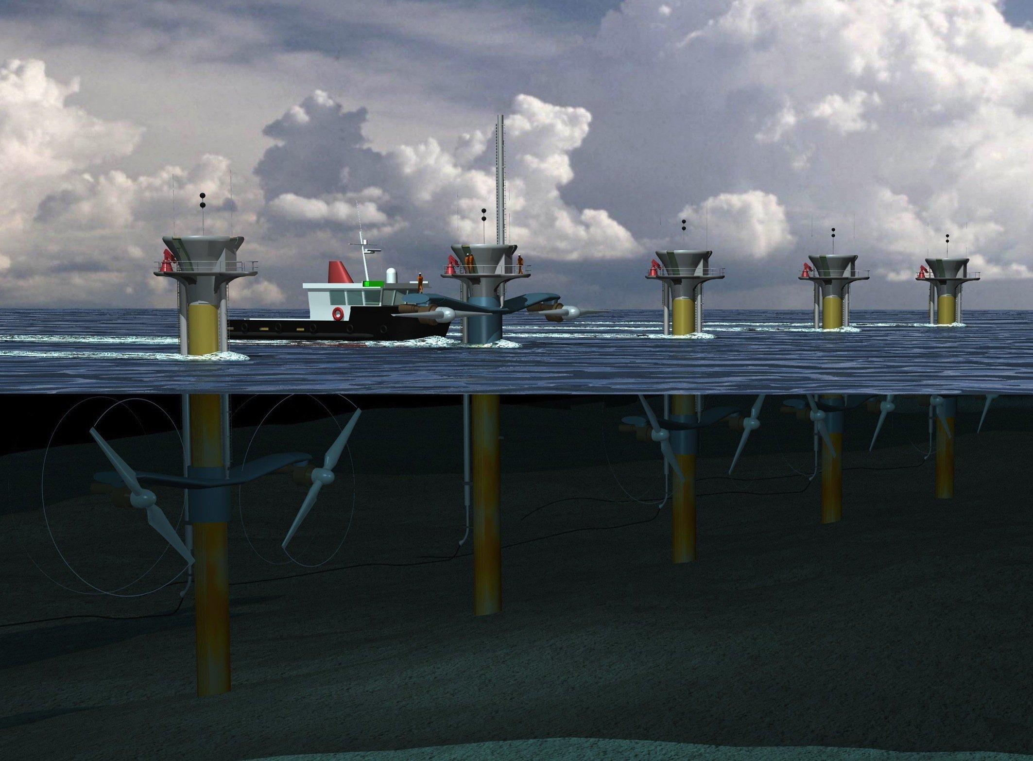 Vor den Küsten von Wales und Schottland sind solche Gezeitenkraftwerke von Siemens in Planung.