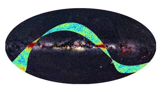 Plancks erste Aufnahme der kosmischen Hintergrundstrahlung.