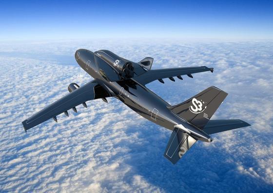 Mit einem Airbus A300 und einer Drohne auf dem Rücken will das Schweizer Unternehmen S3 künftig Satelliten ins All schicken. In 10 000 Meter Höhe löst sich die Drohne vom Rücken des Airbus, um den Satelliten in 80 Kilometer Höhe zu bringen und dort auszusetzen.