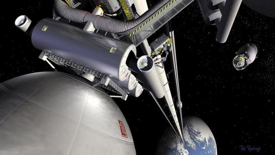 In dieser NASA-Vision rollen Elektrofahrzeuge einen Turm hinauf. Am Schwerpunkt der Konstruktion, auf 35 786 Kilometer Höhe, ist die Endstation angebracht.