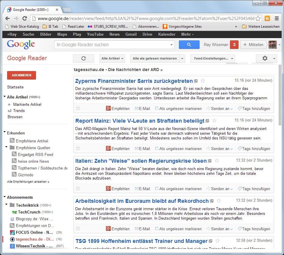 Der Google Reader bietet eine einfache, individuelle Suchfunktion für Nachrichten. Am 1. Juli wird die Software abgeschaltet. Doch es gibt genügend Alternativen.