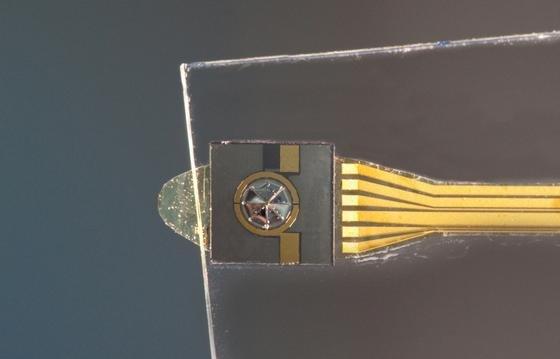 Das Labormuster des Schallwandlers weist eine quadratische Außengeometrie auf. Künftig wird er jedoch kreisförmig ausgelegt sein.