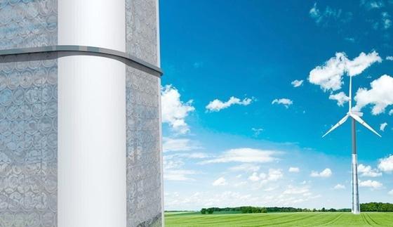 Der Betonbau des neuen Hybridturmes besteht aus Stahlbetonfertigteilen, die durch Stahlfachwerk verbunden sind.