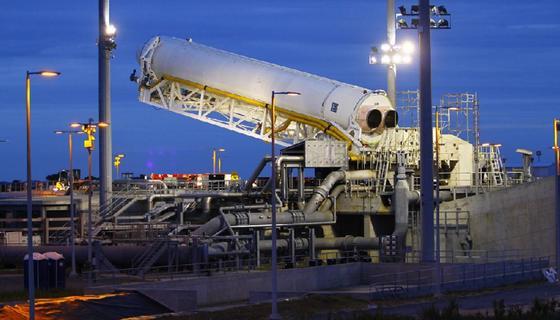 Die Rakete Antares soll künftig als Fracht-Transporter Materialien zur Internationalen Raumstation ISS bringen. Gebaut wurde sie vom US-amerikanischen Unternehmen Orbital Sciences.