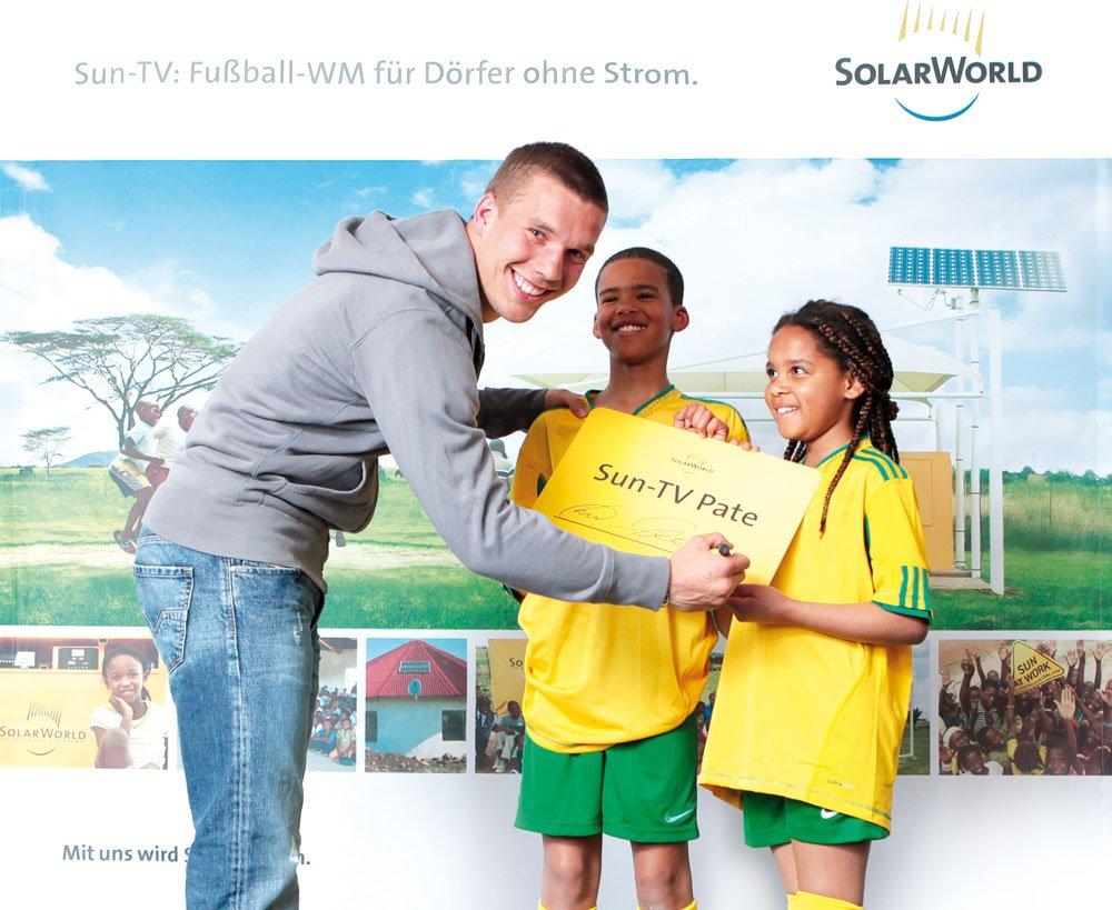 Wirbt seit Jahren für Solarmodule von SolarWorld: der Kölner Fußballer Lukas Podolski.