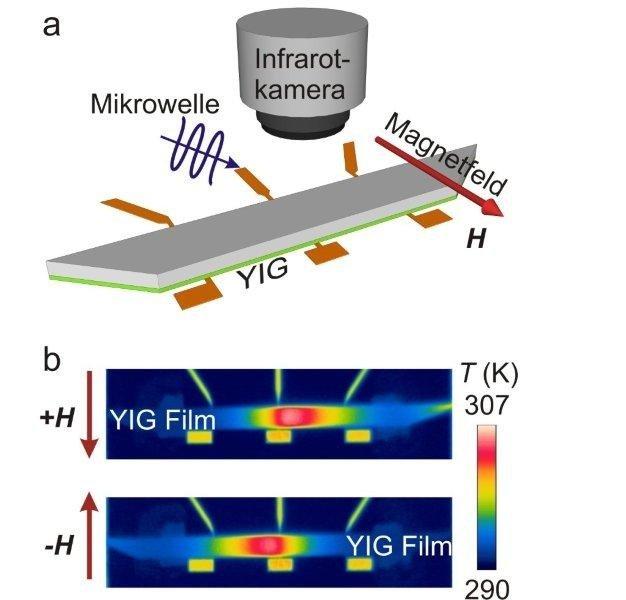 Die Abbildung zeigt als Skizze den experimentellen Aufbau zur Beobachtung der Wärmeentwicklung durch Mikro-Spinwellen in einem Film aus Yttrium-Eisen-Granulat.