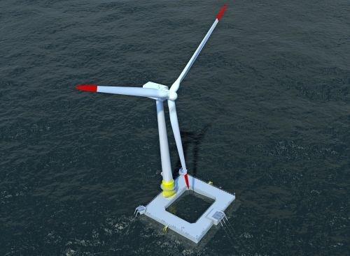 Simulationsmodell einer schwimmenden Offshore-Windenergieanlage.