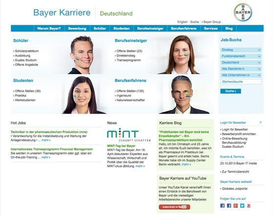 Gute Nutzerführung: Das Karriereportal des Chemiekonzerns Bayer.