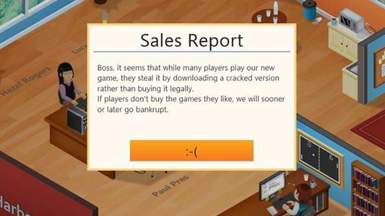 Mit hintersinniger Ironie wird der Benutzer der gecrackten Version auf die Folgen der Software-Piraterie hingewiesen. Er kann bei dem Spiel nie gewinnen, wenn er eine Raubkopie benutzt.