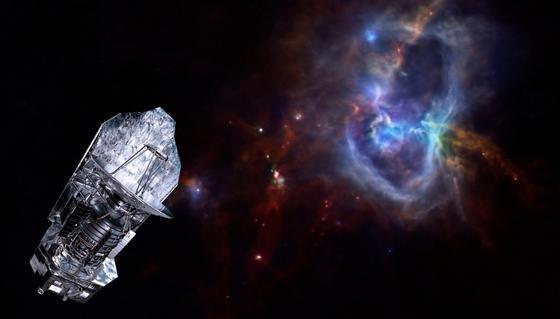 """Herschel vor der Sternkonstellation """"Aquila"""", etwa 1.000 Lichtjahre von uns entfernt. In einer riesigen Gaswolke aus Wasserstoff entstehen um die 600 neue Sterne."""