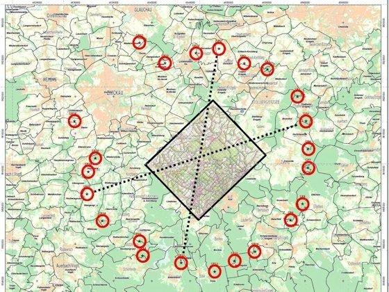 Eignet sich der Untergrund für Tiefengeothermie? 23 Sprengpunkte (rote Kreise) ermöglichen es im schwarz umrandeten Gebiet eine 3-D-Kartierung durchzuführen. Mithilfe einer ausgefuchsten Datenverarbeitung lässt sich eine 3-D-Seismik erstellen, die den Untergrund ähnlich durchsichtig macht wie eine Computertomografie den Körper.