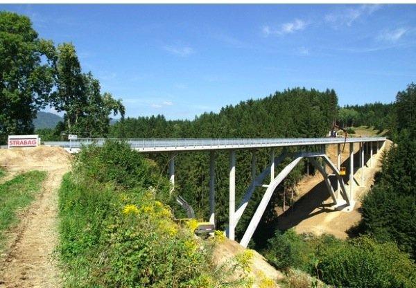 Die Wildbrücke Völkermarkt wurde am 01. Oktober 2010 eröffnet.Sie ist die erste Straßenbrücke der Welt, bei der das Tragwerk aus ultrahochfestem Beton besteht.