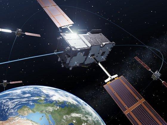 Die Galileo-Satelliten synchronisieren ihre innere Uhr mit der der GPS-Satelliten.
