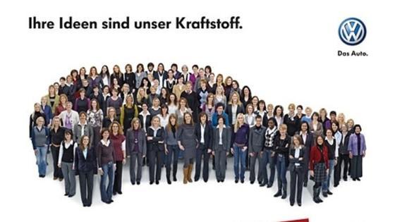Kampagnenmotiv 2012: Volkswagen zeichnet alle zwei Jahre mit dem Woman DrivING Award hervorragende Semester- oder Abschlussarbeiten von Studentinnen und Absolventinnen aus. 2014 soll es zum fünften Mal soweit sein.