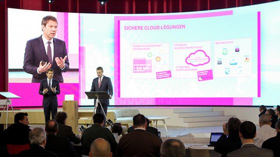 Der scheidende Telekom-Chef René Obermann bei der Vorstellung der Cloud-Computing-Lösungen der Telekom.