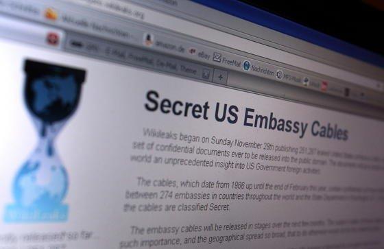 Die Internetseite von Wikileaks, auf der vertrauliche Depeschen des US-Außenministeriums zu lesen sind, aufgenommen im November 2010. Aktuell droht der Online-Plattform die Pleite. Das Spendenaufkommen ist drastisch zurückgegangen – unter anderem wegen der Veröffentlichung der amerikanischen Dokumente.