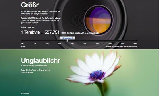 Yahoo-Tochter Flickr will mit neuem Design und eines kostenlosen Speicherplatz von einem Terabyte neue Kunden gewinnen.