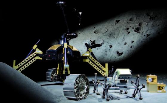 Der Mondrover Sherpa, der Laufroboter Asguard sowie Kommunikationsmodule (v.l.n.r.) zählen zu den DFKI-Systemen, die im Projekt TransTerrA weiterentwickelt und auf irdische Anwendungsfelder übertragen werden.
