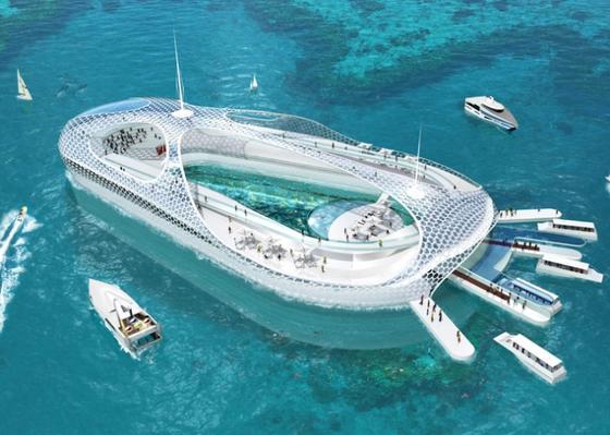 Entwurf des Unterwasserhotels: Es soll in einer Werft gebaut und dann in China vor Ort im Untergrund verankert werden. Die Hotelsuiten befinden sich unter und über der Wasserlinie und bieten durch die Ganzverglasung spektakuläre Ausblicke.