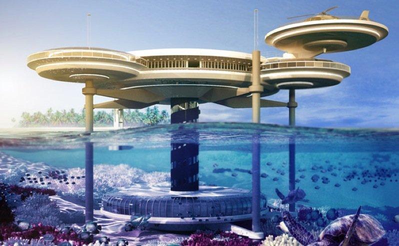 Ein Hotel, das halb über und halb unter Wasser liegt. So soll das Water Discus Hotel einmal aussehen.
