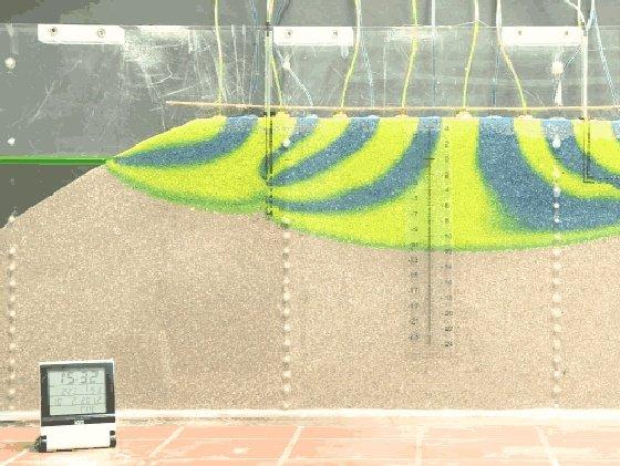 Sandbox-Modell einer Insel mit unterschiedlich eingefärbten Fließpfaden: Bei zu starker Förderung aus einem Vertikalbrunnen (l.) dringt das unter der Süßwasserlinse befindliche Salzwasser ins Bohrloch ein und kontaminiert dieses.