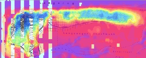 Erste Ergebnisse aus der Hubschrauber-Elektromagnetik: Die Süßwasserlinse von Langeoog (dunkelblau) zeichnet sich deutlich durch höhere scheinbare spezifische Widerstände (f = 133 kHz) gegenüber dem umgebenen, besser leitenden Salzwasser ab.