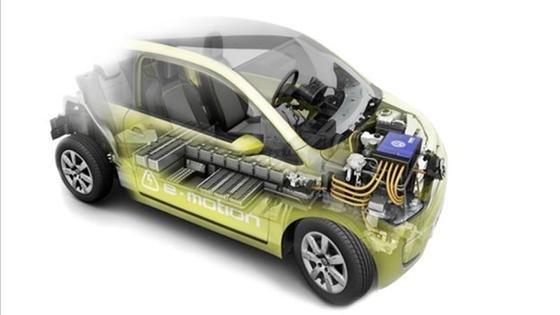 Blick in den Innenraum des e-up! Das Batteriesystem sitzt im Unterboden zwischen den Achsen.
