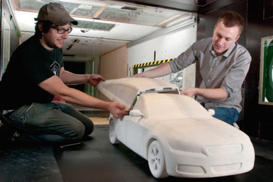 Das Automodell 'DrivAer' wurde imInstitut für Mathematikfür der TU Berlin für mehrere Messreihen im Windkanal Uni ausgedruckt.