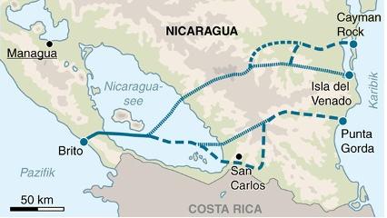 Nicaragua will mit einer eigenen Wasserstraße den Erfolgen des Panamakanals nacheifern. Die Linie zeigen die alternativen Routen.