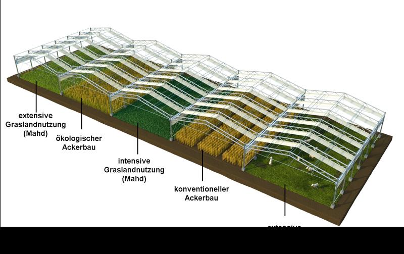 Auf großen Feldparzellen werden die Effekte des Klimawandelsauf verschiedene Landnutzungstypen simultan und interdisziplinär untersucht.