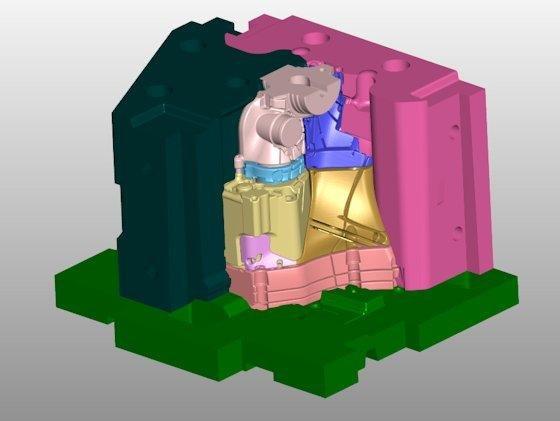 Modell des Sandgusskerns: Im CAD-Programm wird der aufwendige Gusskern in verschiedenen Modulen geplant und dann in Schichten für den 3-D-Druck zerlegt.