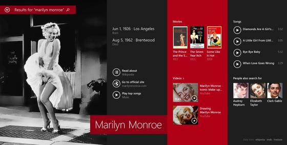 """Neue Suchfunktion in Windows 8.1: Die Windows-Suche durchforstet eigene Dateien, das Web und Apps. Hier das Ergebnis einer Suche nach """"Marilyn Monroe"""" – weiter rechts tauchen dann Websites auf."""