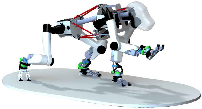 CAD-Zeichnung der Wirbelsäule des affenähnlichen Roboters.