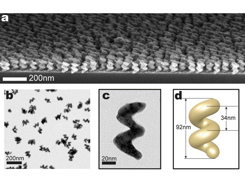 Nanostrukturen aus der Parallelproduktion: Mehrere 100 Milliarden Helices, aber auch Haken oder Zickzack-Strukturen lassen sich mithilfe der Dampfabscheidung auf einem vorstrukturierten Wafer erzeugen (a). Ultraschall entfernt die Nanobauteile von dem Träger, sodass sie in eine Lösung gebracht werden können (b). Form und Abmessungen der Strukturen lassen sich sehr exakt kontrollieren (c,d).