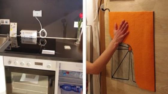 """Technische Assistenzsysteme für ein selbstständiges Leben im Alter werden im """"Living Lab"""" erlebbar gemacht. Die Abbildung zeigt links eine Herdsicherung und rechts eine Sensormatte."""