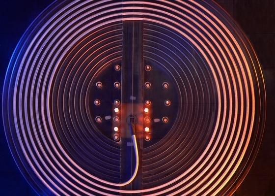 Der Prototyp einer Spule zur kontaktlosen Energieübertragung.