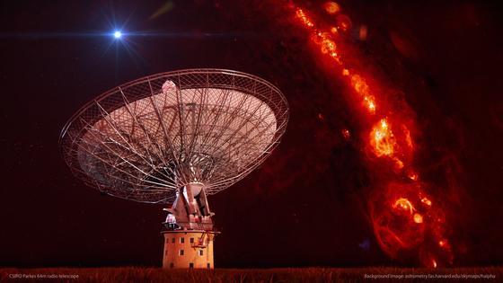 Die Animation zeigt das Teleskop im australischen Parkes mit drei Radiopulsen am Himmel.