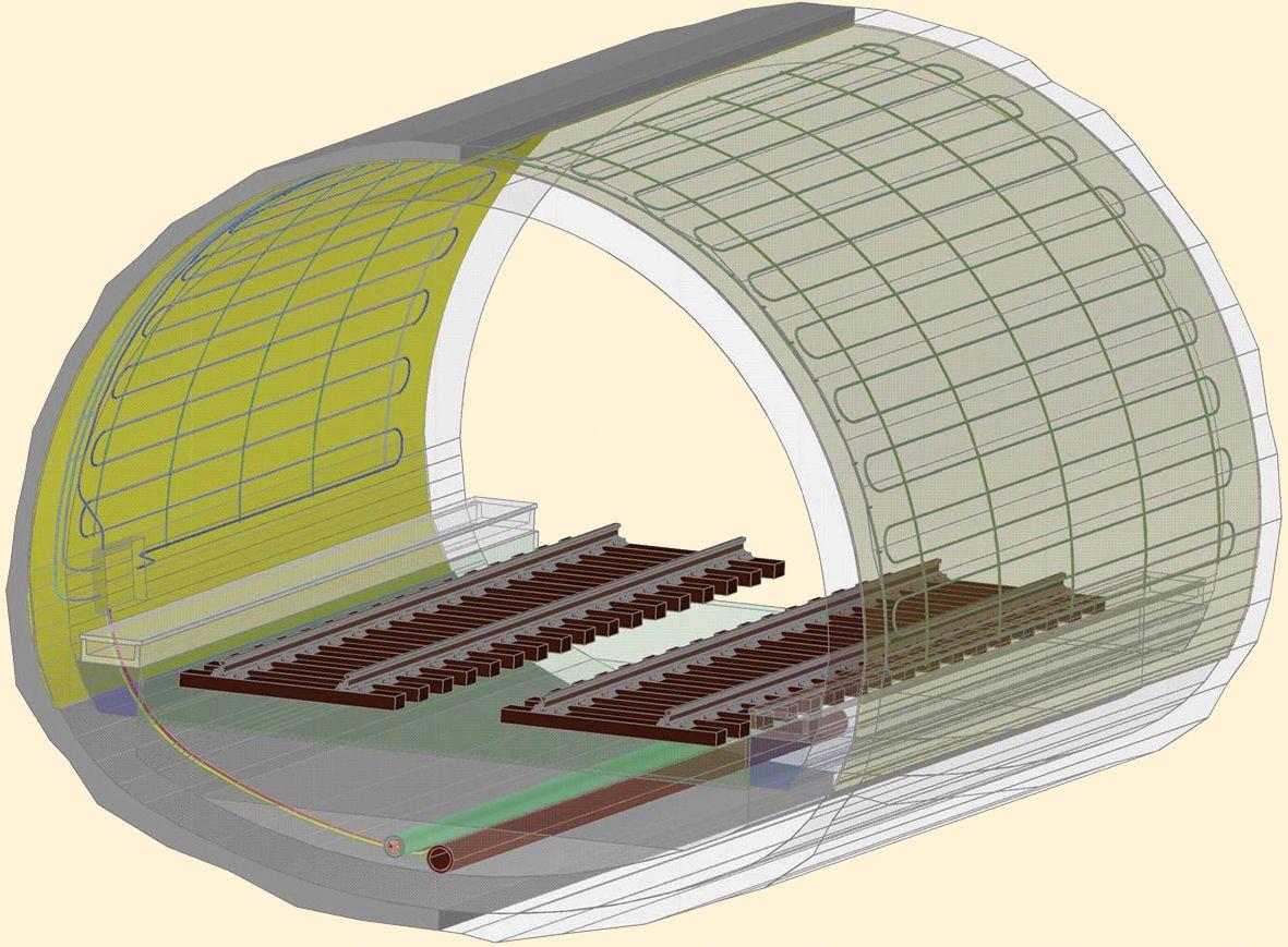 3-D-Ansicht des Energieblocks im Fasanenhoftunnel: Die Absorberleitungen befinden sich zwischen Innen- und Außenschale. Die Zuleitung liegt in der Tunnelsohle.