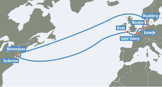 Das System von TAT-14 ist in Ring-Topologie ausgelegt, so dass bei einem Kabelbruch die Daten über den noch intakten Teil geleitet werden können. Das Kabel verbindet Europa über zwei Trassen mit Nordamerika. Es ist insgesamt 15 000 Kilometer lang, 50 Millimeter dick und kann pro Trasse 640 Gbit/s übertragen.