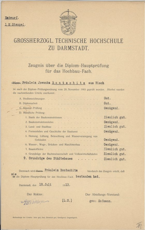 Die Diplomurkunde der Jovanka Bontschits, Deutschlands erster Ingenieurin, aus dem Jahr 1913. Das vorgedruckte