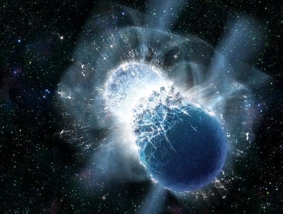 Bei der Kollision von zwei Neutronensternen wird so viel Energie frei, dass sich riesige Mengen Gold bilden. Das haben US-Forscher nun nachgewiesen. Auch das Gold auf der Erde muss so entstanden sein. Wie es aus dem Weltall auf die Erde kam, ist noch ungeklärt.