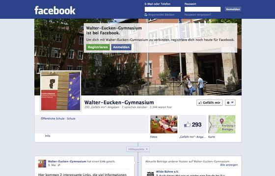 Viele Schulen auch in Baden-Württemberg informieren mit einer eigenen Facebook-Seite wie das Walter-Eucken-Gymnasium in Freiburg. Jetzt hat das Kultusministerium des Landes Schulen und Lehrern verboten, bei schulischen Themen über soziale Netzwerke zu kommunizieren.